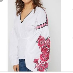 Topshop long sleeves embroidered top